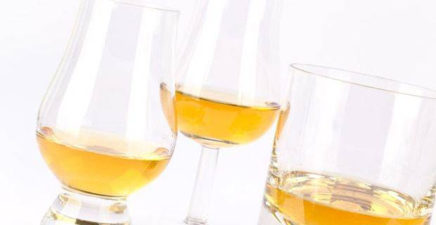 Malt whisky Poured into Tasting Glasses and Old Fashioned