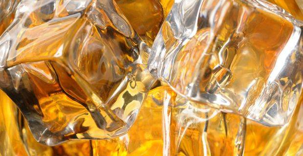 Malt Whisky on Ice Closeup